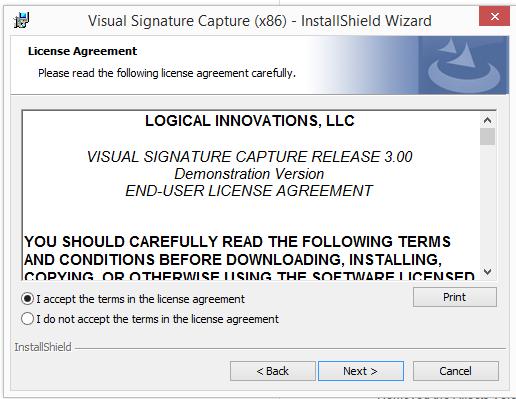 Installing Visual Signature Capture